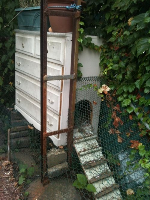 An old chest of drawers as a coop.  Oh man... I really want some chickens... now.
