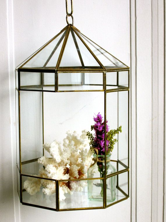 Vintage Hanging Terrarium Glass And Brass Display Case