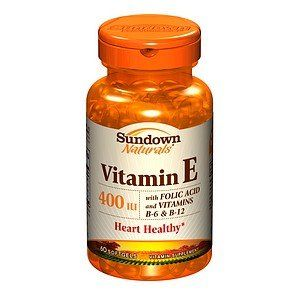 Sundown Naturals Vitamin E with Folic Acid & Vitamins B6 & B12, Softgels 60 ea by AB. $15.56. Sundown Naturals Vitamin E with Folic Acid & Vitamins B6 & B12, Softgels 60 ea. Vitamin Supplement  Heart Healthy*  Smart Facts: Sundown Naturals' E 400 with Folic Acid, B-6 and B-12 is a select combination. Vitamin E provides powerful antioxidant support for cells, while Folic Acid, Vitamin B-6 and Vitamin B-12 work together to promote heart health and help to maintain homocy...