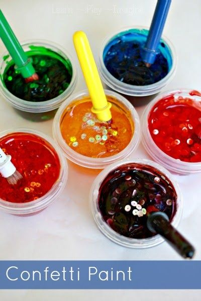 Homemade paint recipe for confetti paint.  These paints are gorgeous and glossy and only require three simple and inexpensive ingredients! This blog has LOTS of great craft ideas!
