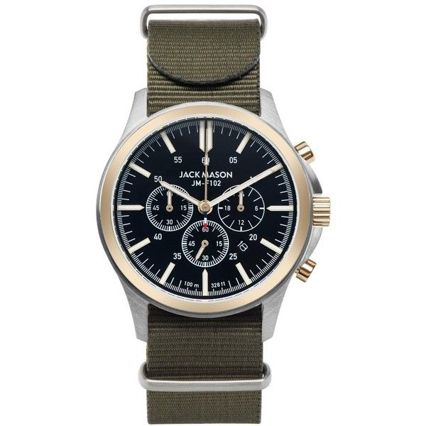 Jack Mason Field Chronograph Nato Strap Watch, 42Mm ($177) ❤ liked on Polyvore featuring jewelry, watches, chronos watch, rugged watches, leather-strap watches, etched jewelry and jack mason
