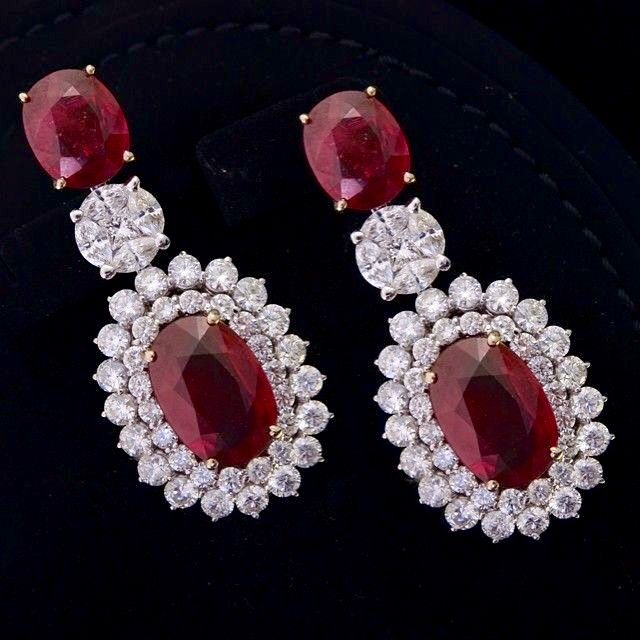 Ruby, Diamond and Platinum Earrings