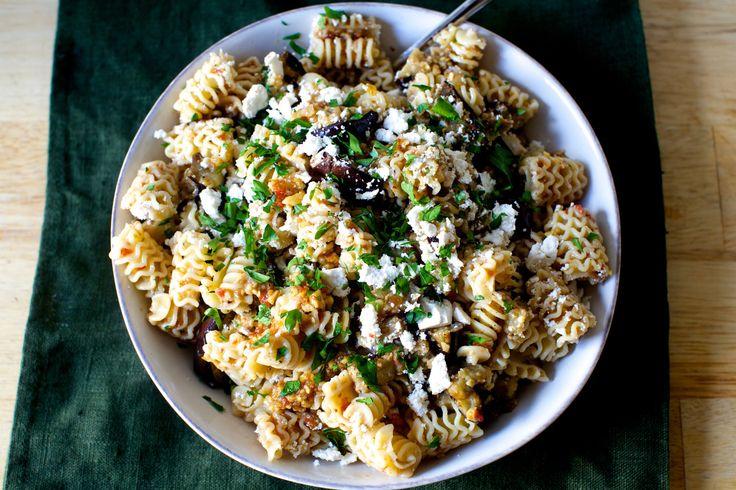 charred-eggplant-and-walnut-pesto-pasta-salad