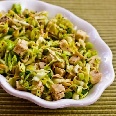 Recipe for Sandee's Sensational Asian Salad with Chicken and Cabbage; I adapted this salad my sister is known for to make it SBD friendly and low-carb! [from Kalyn's Kitchen] #SouthBeachDiet  #LowCarb