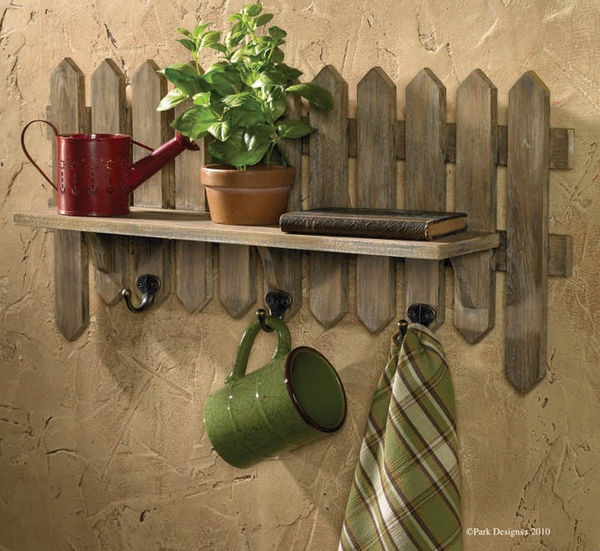 Image detail for -Herb Garden Wooden Picket Fence Wall Shelf with Hooks by Park Designs ...