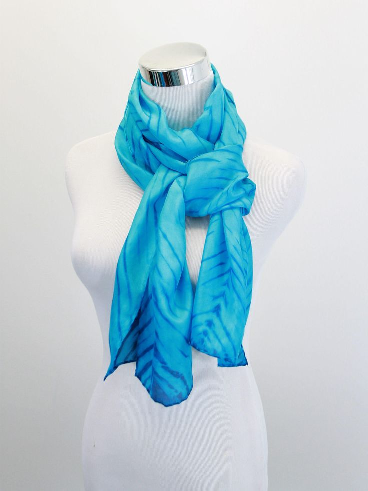 Hand dyed silk scarf, Turquoise striped scarf, Shibori dyed silk scarf,  habotai silk scarf, hand dyed scarf