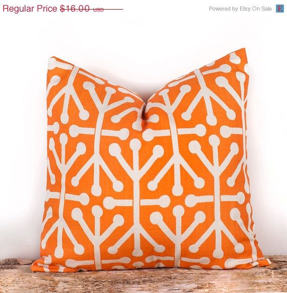 SALE, ENDS SOON Geometric Orange Pillow Case, Orange Home Accent Pillow Cover, Cotton Pillowcases, 16 x 16