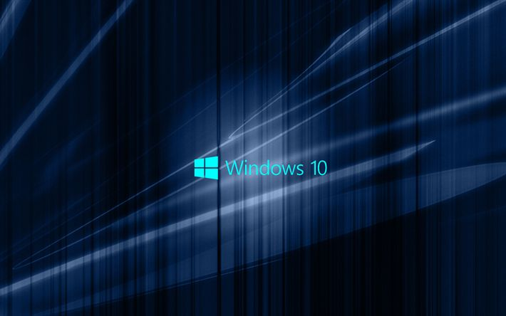 Download wallpapers Windows 10, dark blue abstraction, emblem, win10, Windows