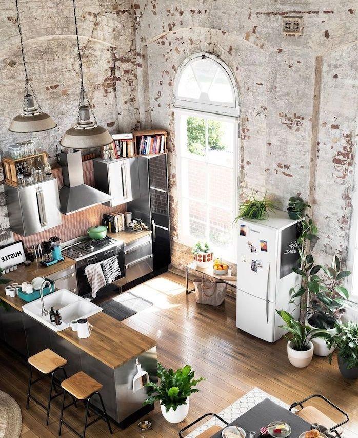 1001 astuces et id es pour am nager une cuisine en l cuisine d co loft industriel cuisine - Amenager une cuisine en l ...