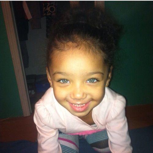 Beautiful baby girl with amazing blue eyes