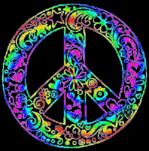Wallpaper Of Peace: Rainbow-hearts-flowers-peace-sign.gif (600×608)