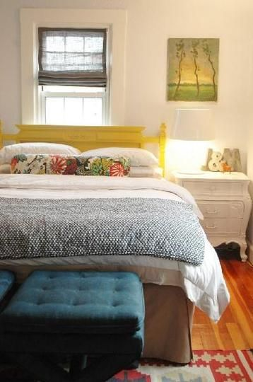 great colors and so cozy. love the initial on the bedside table.