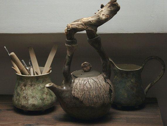 Handmade ceramic teapot | Ceramic kettle | Stoneware teapot | Designe kettle | Home decor | Pottery | Natural style