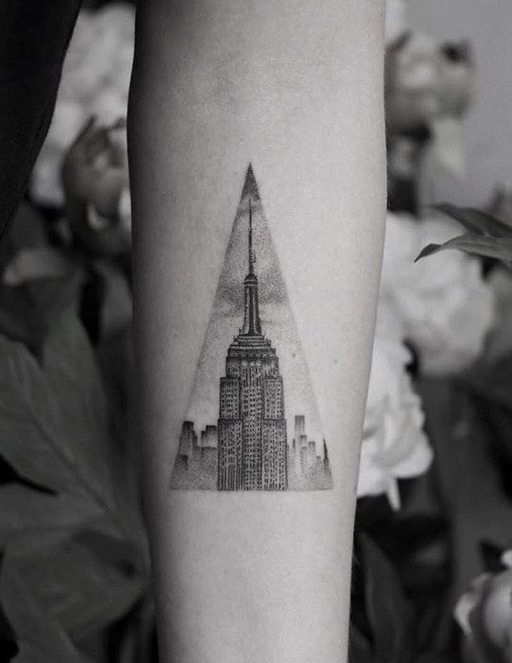 Empire State Building tattoo. - Balazs Bercsenyi at Bang Bang, NYC. #newyork #tattoo