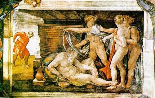 노아의 만취  미켈란젤로   프레스코화, 137 x 122 cm, 1537-41,  바티칸 궁 시스티나 예배당 천장     가상의 큐레이팅이지만 실제로 전시회를 연다면 전시회의 천장으로 하고싶은 작품이다.  미켈란 젤로가 자신의 모든 역량을 쏟아부은 천정화의 가운데 부분으로 예술가의 집념과 양보할 수 없는 완벽함의 추구가 돋보이는 작품이다.