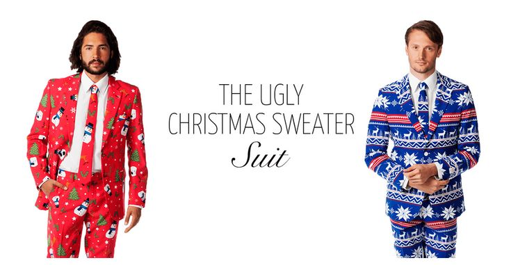 The New Holiday Wear: Ugly Christmas Sweaters Turned into Festive Men's Suits - https://magazine.dashburst.com/pic/ugly-christmas-sweater-suits/