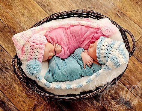 Twins 2 stocking cap elf hats newborn 3m 6m crochet pink girls blue boys pompom photo