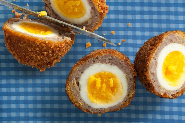 Breakfast Sausage and Cornflake Scotch Eggs  So yummy! This reminds me of the meatballs my mom use to make us as kids.