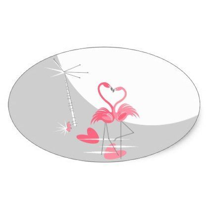 Flamingo Love Large Moon sticker oval - wedding stickers unique design cool sticker gift idea marriage party