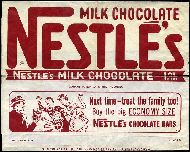 Nestle's Milk Chocolate - candy bar wrapper - 1950's ...