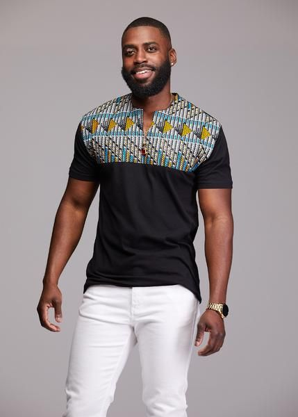 1512d9a84cf8 Dayo Men's African Print T-Shirt (Blue & Orange Triangles/Black ...