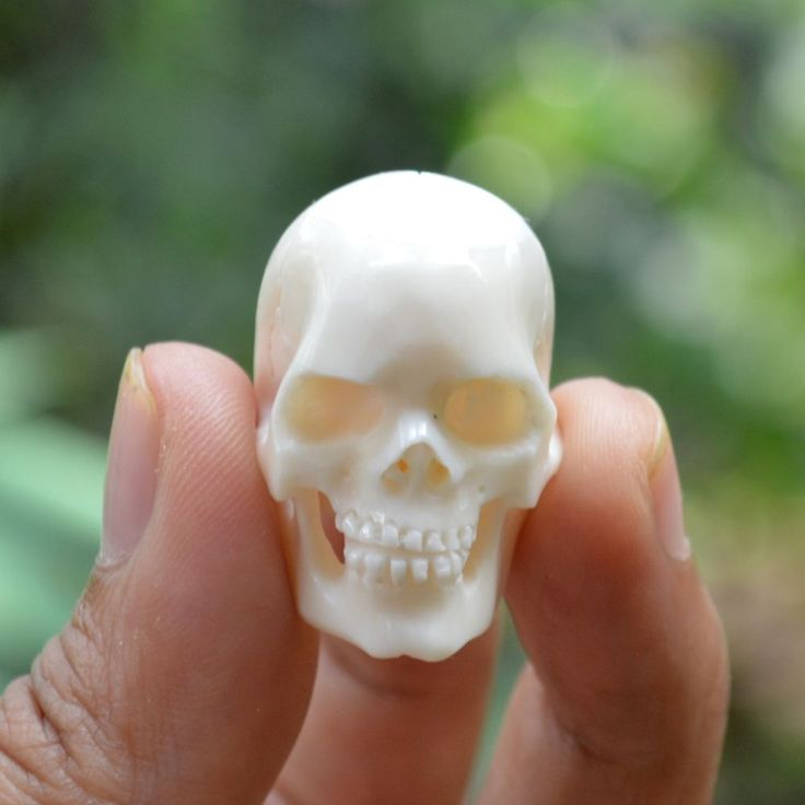10pcs Hand Carved 25-30mm Human Skull Natural Buffalo Bone Carving Undrill