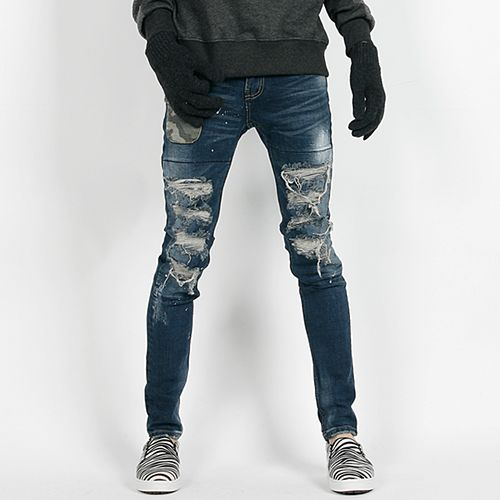 Distressed Camo Pocket Skinny Jeans