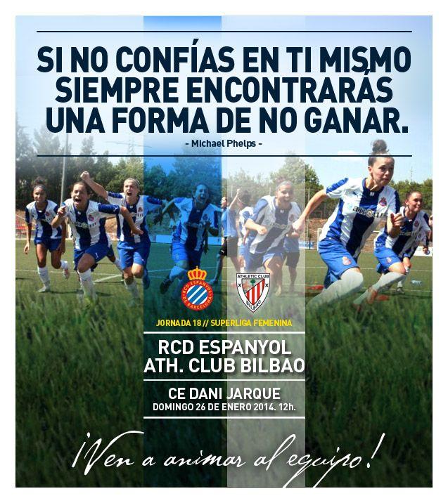 Cartel para partido de Liga. RCD Espanyol - Athletic de Bilbao. Fútbol Femenino.