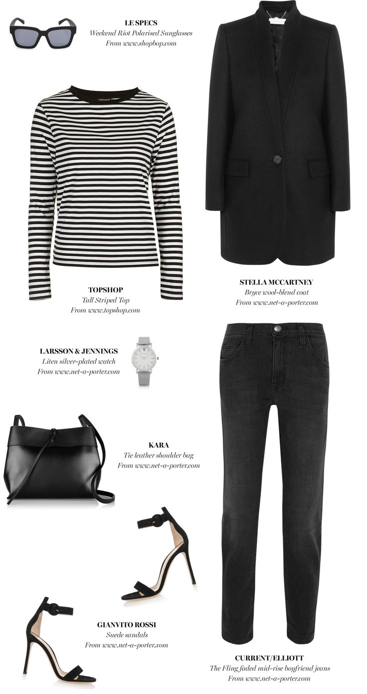 stripe top + black jacket + jeans + heels | outfit inspiration | Harper and Harley