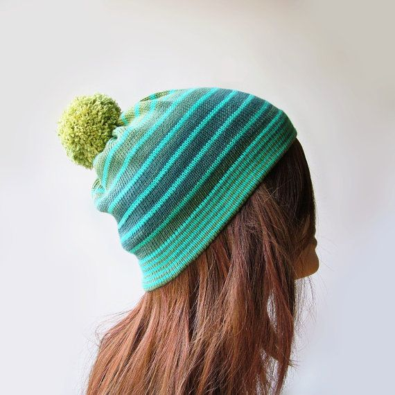Womens knit pom pom beanie in ombre green and turquoise blue with stripes. Lightweight / middleweight colorful cotton slouch bobble hat by rukkola on Etsy.