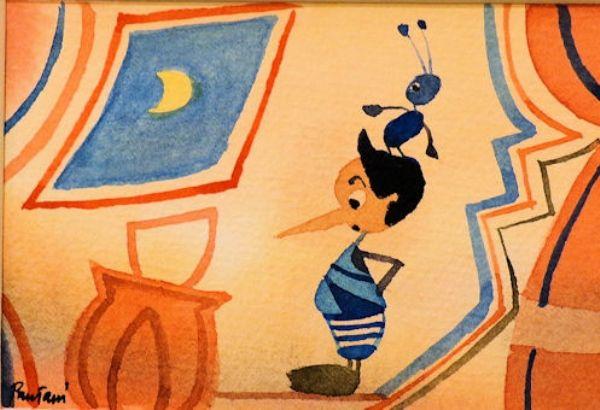 Pinocchio la finestra e la luna - Acquerelli originali di Massimo Pantani, Pantani Arte San Gimignano (Siena)