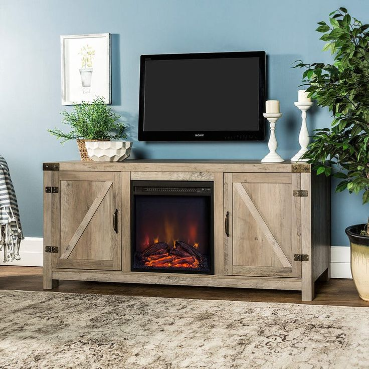 """Rustic Barn Door Gray Wash 58"""" TV Stand with Fireplace in"""