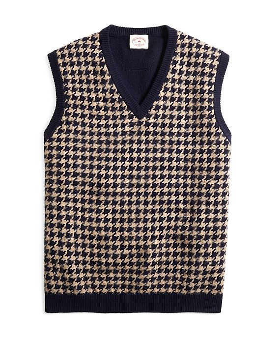 Houndstooth Sweater Vest Navy Good Cosplay Fear