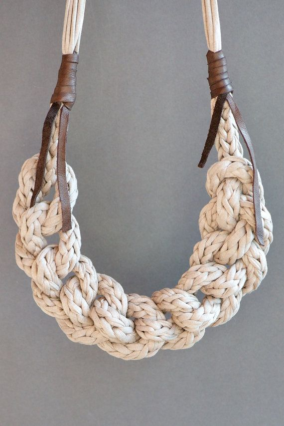 Fabric yarn necklace knitted and braided by lebenslustiger on Etsy
