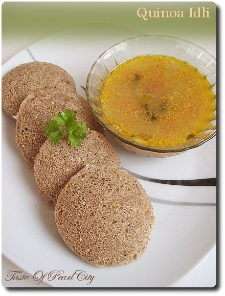 Instant Quinoa Idli - Preparation Time: 10 minutes; Cooking Time: 20 minutes. Makes about 20 Idli's. Click for Recipe: - Ingredients and Method.