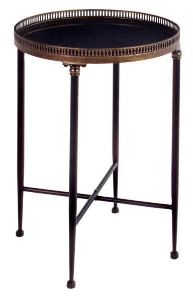 Round Black Accent Table, This versatile black wrought iron table would make a wonderful addition to your outdoor room. It's traditional design allows it to fit into any décor beautifully.