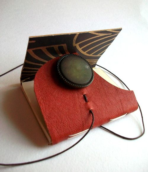 Louisa Boyd Art | Hand bound, leather, wrap around journal with...