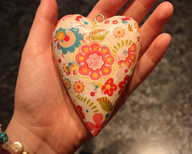 Paper mache heart finished with Decopatch.