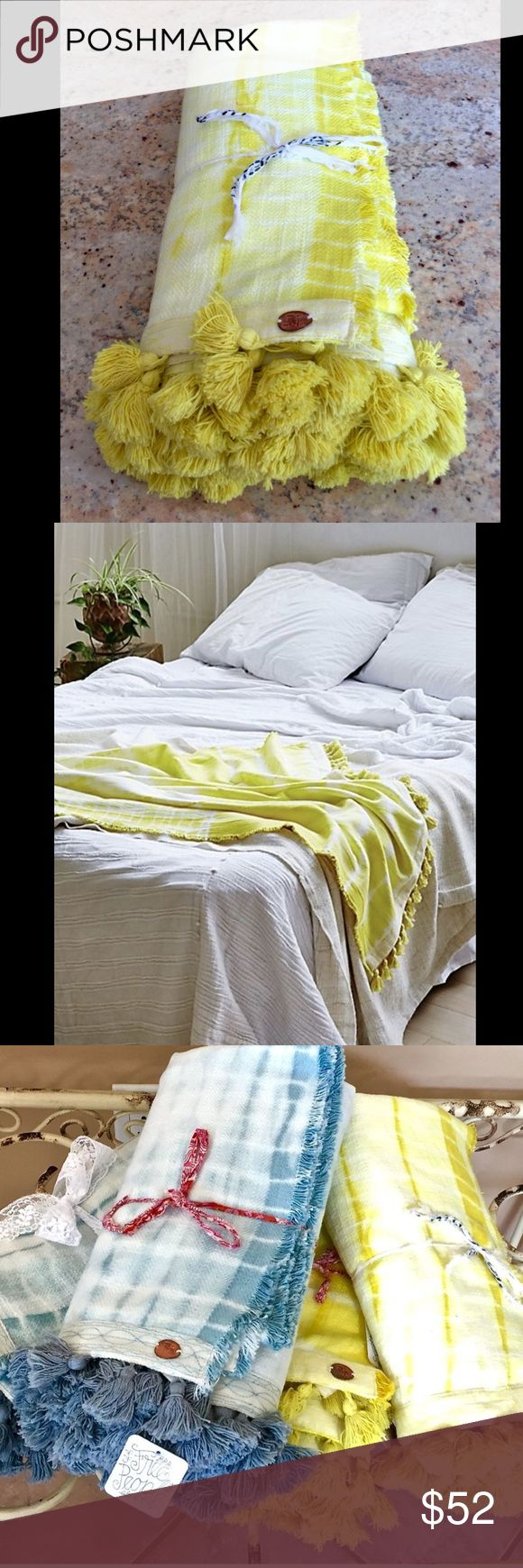 """Free People yellow Large BeachTowel Blanket Throw Free People yellow white Tie Dye Extra Large Beach Towel Blanket Throw Tassel Trim  Hand dyed super soft cotton beach towel / blanket / throw with tassel edging New With Tags    * due to the hand dyed technique, each towel will be slightly different   100% cotton  42""""W  x  62""""L Free People Accessories Scarves & Wraps"""