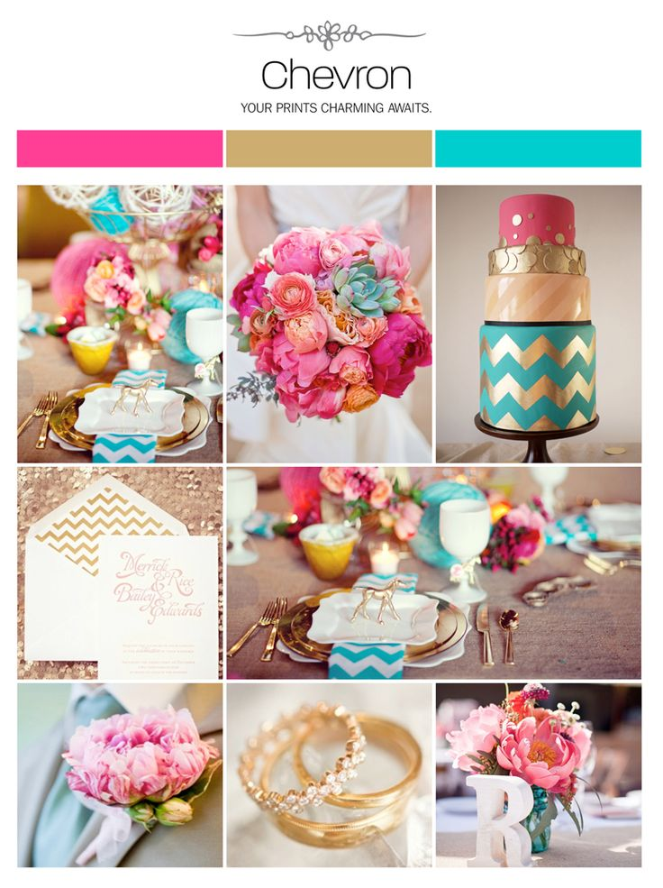 Chevron wedding inspiration board: hot pink, turquoise, gold via Weddings Illustrated