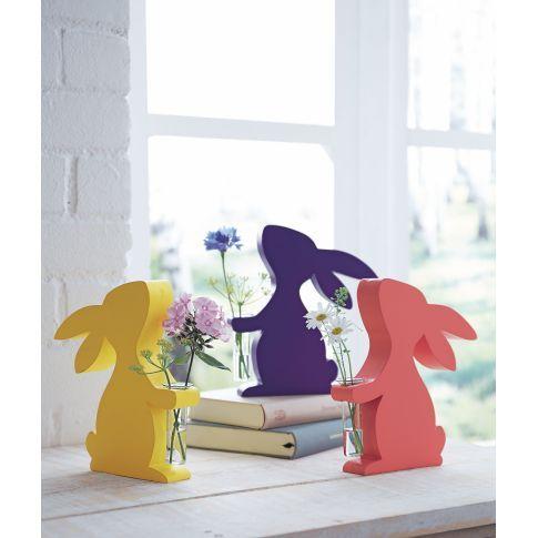 Hasen aus Holz mit Reagenzglas für Blume