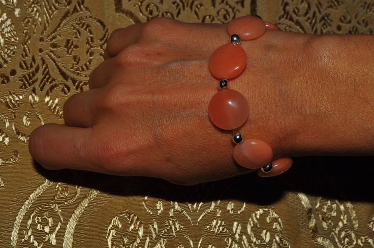 peach color agate bracelet di Oxidex su Etsy