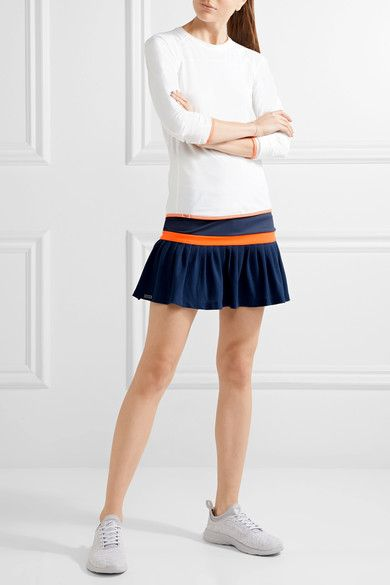 L'Etoile Sport - Two-tone Stretch-jersey And Mesh Tennis Skirt - Navy
