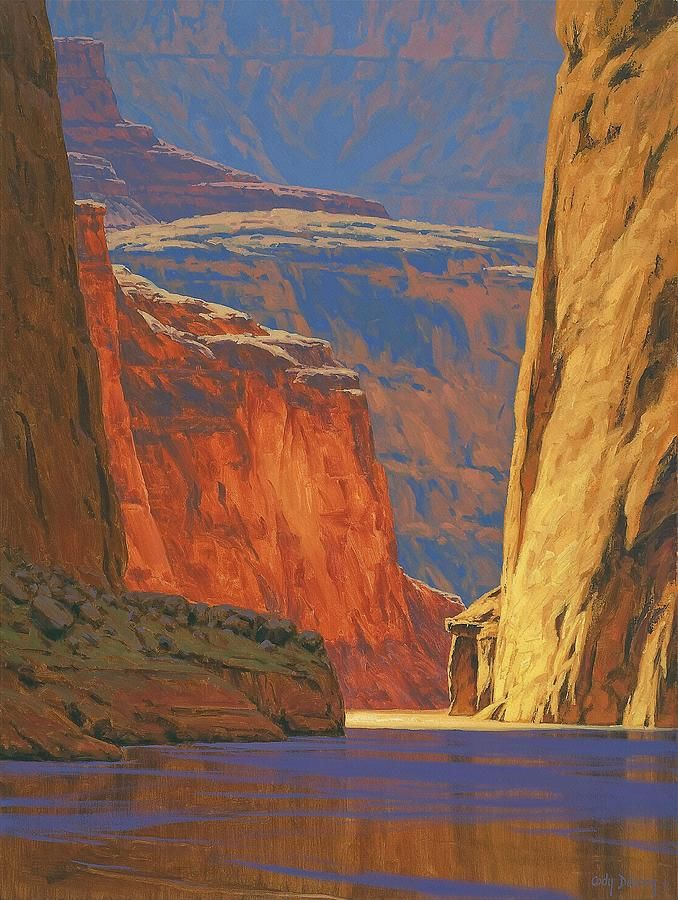 The brushwork is big and bold like the canyon itself, and this painting succeeds in capturing some of the impact you feel at the Grand Canyon...Artist: Cody DeLong