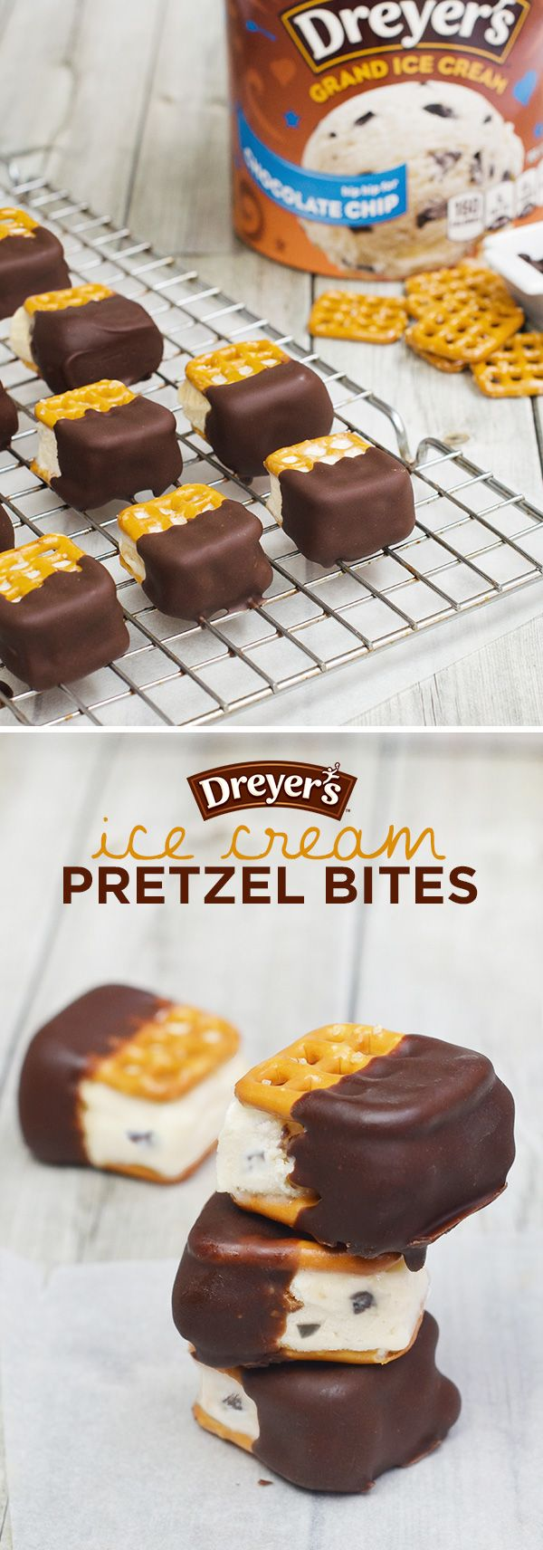 Dreyer's Ice Cream Pretzel Bites: A mini scoop of Dreyer's Grand Chocolate Chip Ice Cream looks so tasty between two bite-sized waffle pretzels. Jazz them up a bit by dipping each piece halfway into chocolate; then place them on a cookie rack and refreeze. Don't forget to share!