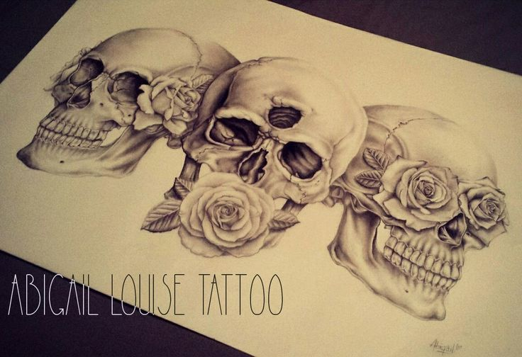 Hear no, see no, speak no evil skulls and roses. Drew as a present for my other half. insta - abigaillouisetattoo