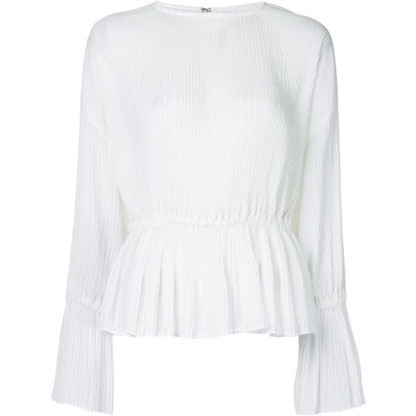 Le Ciel Bleu Pleated Peplum Blouse ($172) ❤ liked on Polyvore featuring tops, blouses, white top, pleated blouse, pleated top, white peplum top and peplum tops