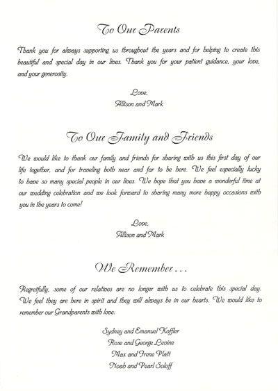 Thank You for Wedding Program