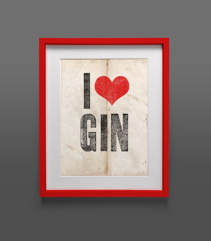 Instant Download Poster  I heart Gin Print by FollowYourArrowPrint