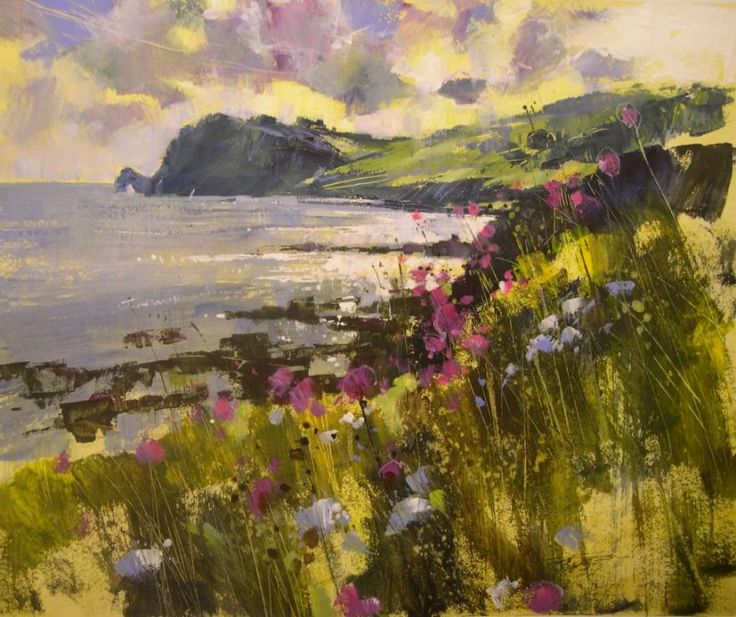 Spring flowers in the breeze, Prawle by Chris Forsey